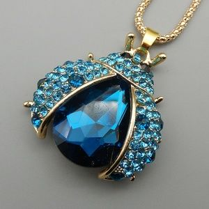 Blue Lady Bug Betsey Johnson Pendant Long Necklace
